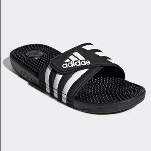 ADISSAGE SLIDES adidas black and white stripe 8